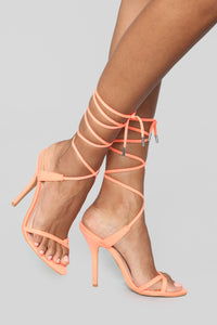 Nothing But Lies Heeled Sandals - Neon Orange