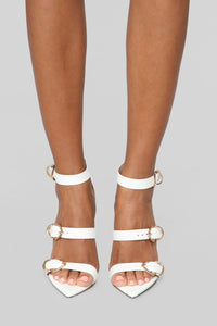 No Turning Back Heeled Sandals - White