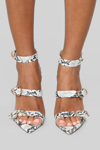 No Turning Back Heeled Sandals - Snake