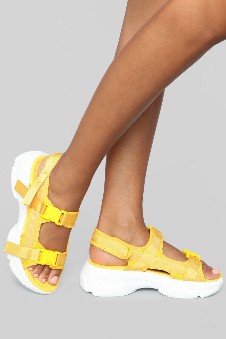No Exceptions Flat Sandals   Yellow by Fashion Nova