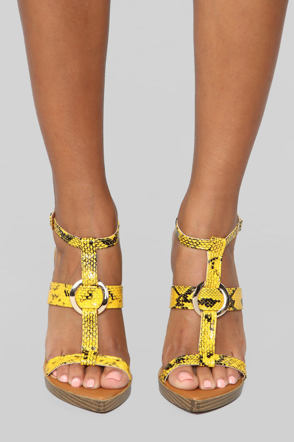 77623fa8b24 Wild Side Heeled Sandal - Yellow Snake