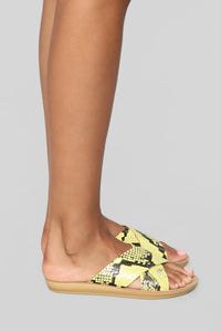 Right This Way Flat Sandal - Yellow Snake