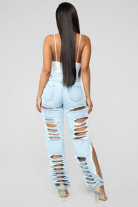 Caught In the Act Boyfriend Jeans - Light Blue Wash