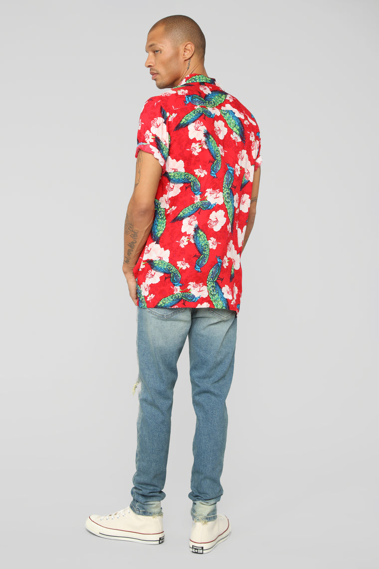 Xander Short Sleeve Woven Top - Red/Multi