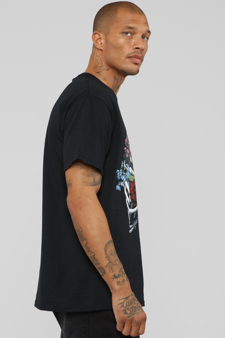 Floral Ribs Short Sleeve Tee - Black/Combo