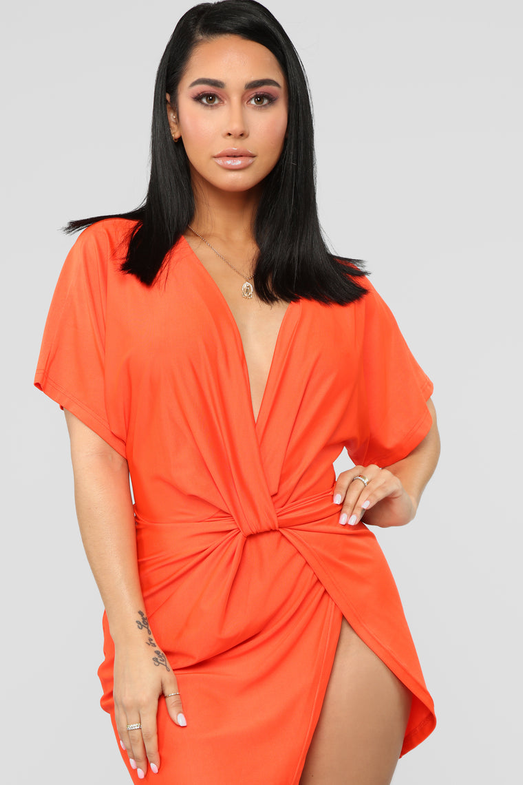 Do The Dolman Sleeve Dress - Orange