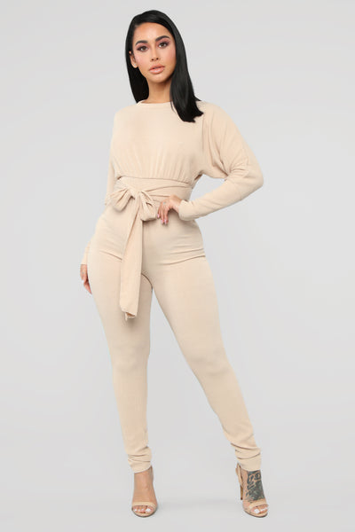 Tie Waist Waistline Hidden Back Zipper Belted Dolman Sleeves Polyester Jumpsuit