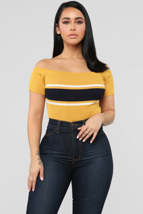 Just Smile It Off Shoulder Top - Mustard White ae150945338b