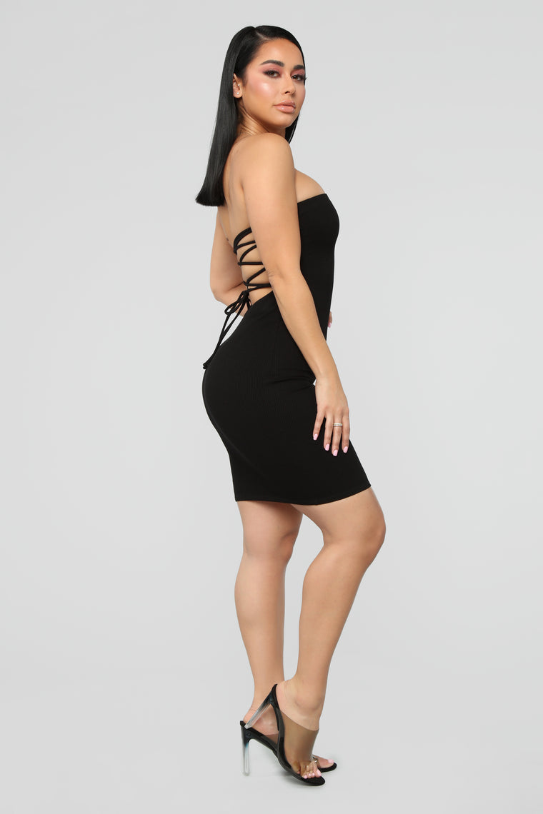 Back To Laces Tube Mini Dress - Black