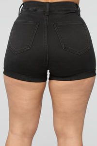 Rock Solid Denim Shorts - Black
