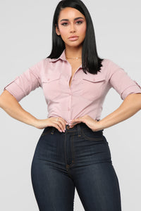Taylor II Button Down Top - Mauve