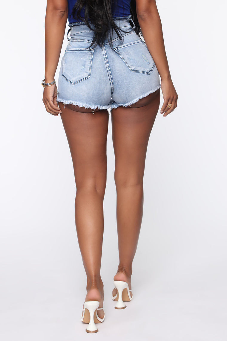 Get On It Distressed Shorts - Light Blue Wash