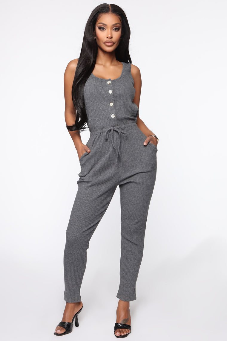 Just Chilling Ribbed Jumpsuit - Charcoal