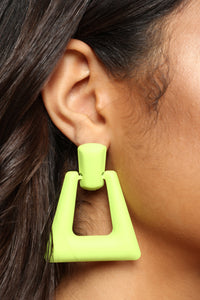 Who's At The Door Earrings - Lime Angle 1