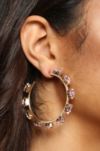 Hidden Gem Hoop Earrings - Pink