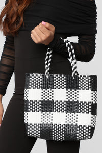 Checking Me Out Bag - Black/White Angle 2