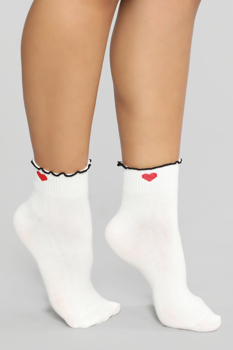 Heart To Lettuce Know Socks - White