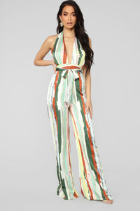 Sweet Thing Halter Jumpsuit - Yellow/Multi Angle 1