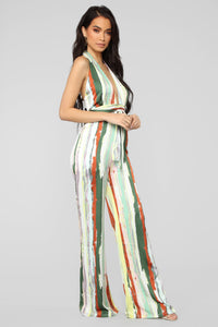 Sweet Thing Halter Jumpsuit - Yellow/Multi Angle 3