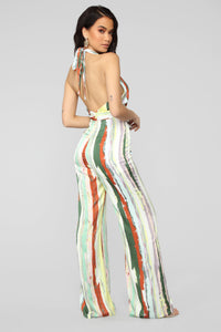 Sweet Thing Halter Jumpsuit - Yellow/Multi Angle 4