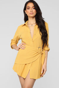 My Loving Heart Shirt Dress - Mustard