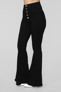 View From The Top Flare Jeans - Black