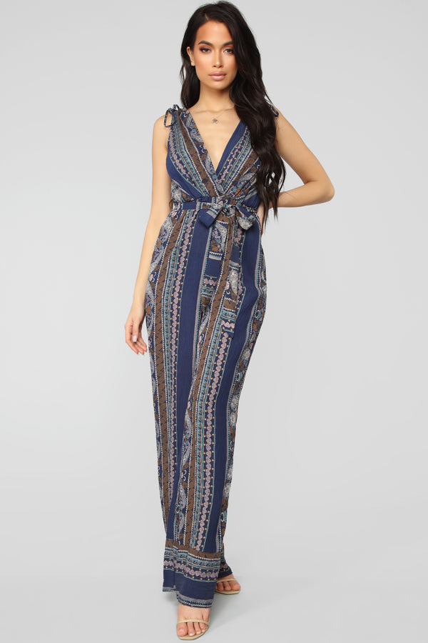 69013058c In A Daze Printed Jumpsuit -Navy Combo