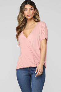 Dream On Short Sleeve Top - Rose