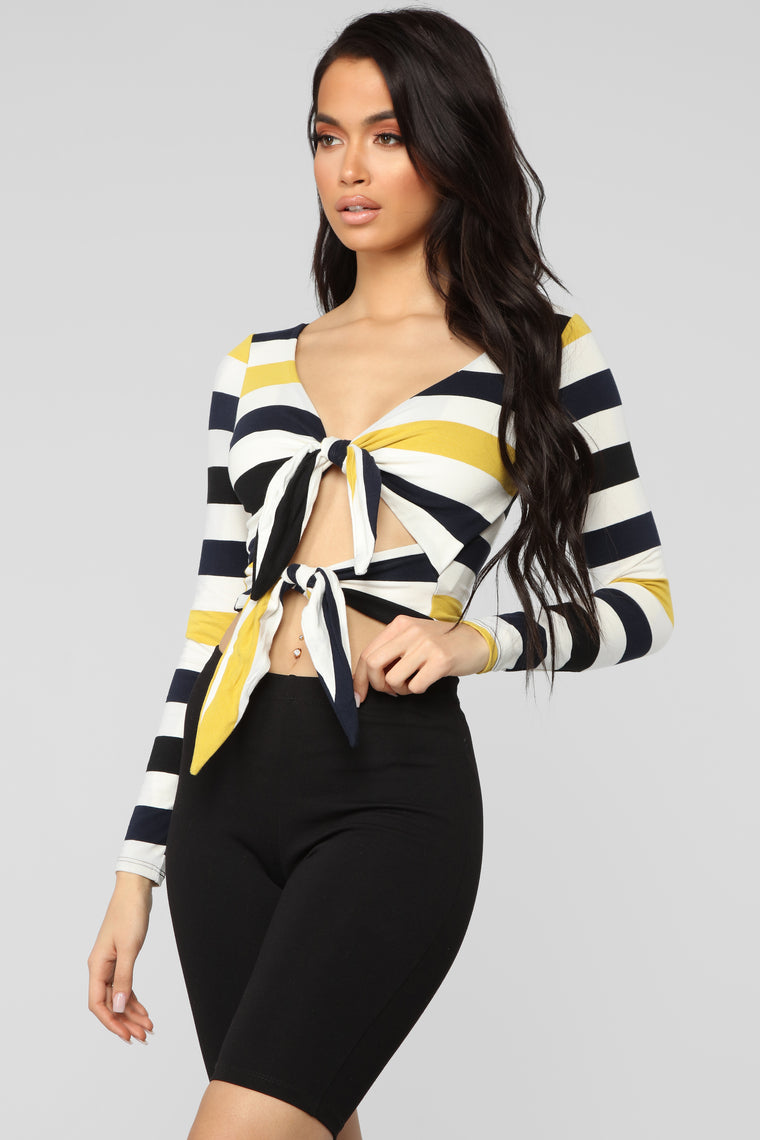 Just One Time Stripe Top - Navy/Combo