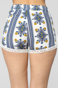 Miami Mami High Rise Printed Short - White