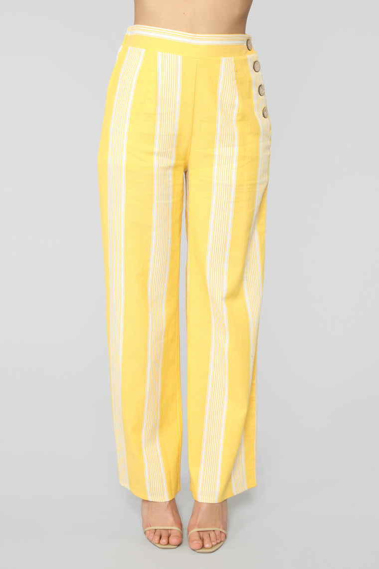 Not So Simple Flare Pants - Mustard/combo