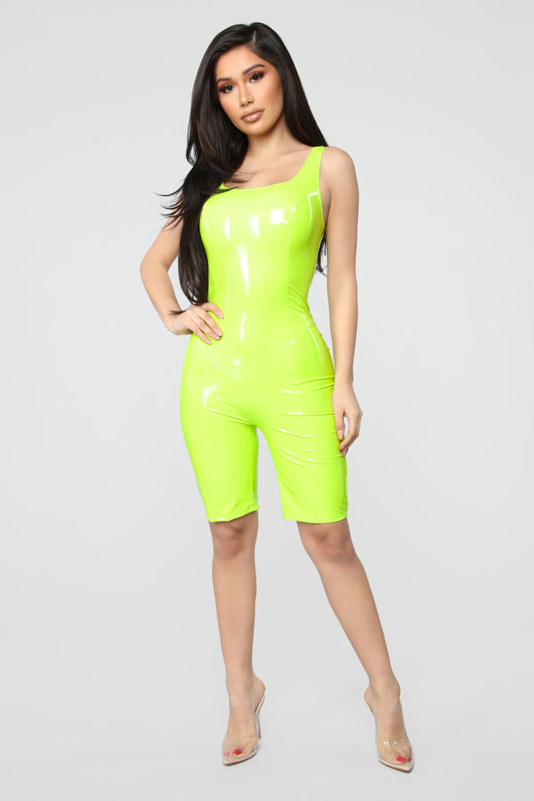 2e98480c52ff Domm Latex Biker Short Romper - Neon Green