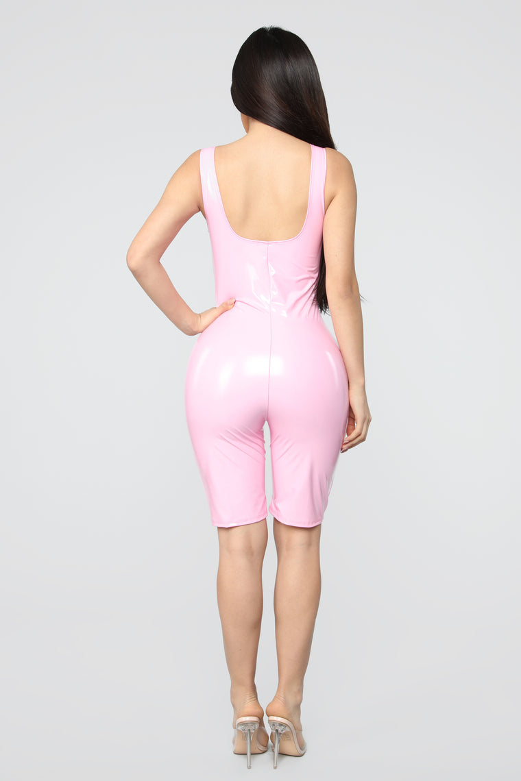 Domm Latex Biker Short Romper - Hot Pink