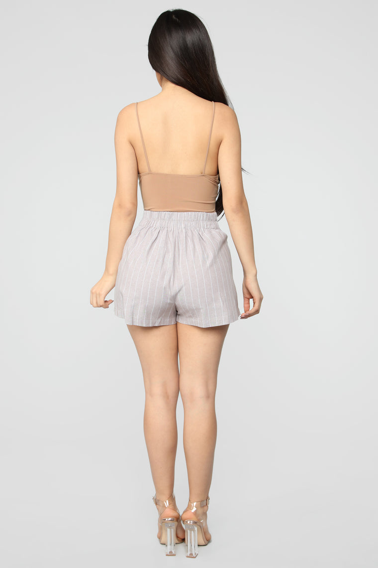 The One In Charge Striped Shorts - Tan