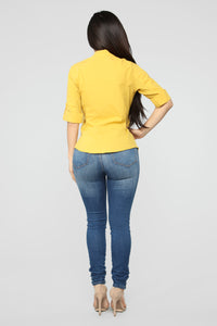 Taylor II Button Down Top - Mustard