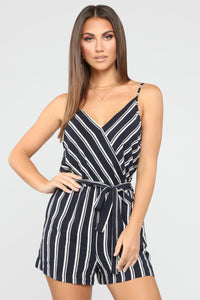 Can't Have You Multi Stripe Romper - Navy/White Angle 1