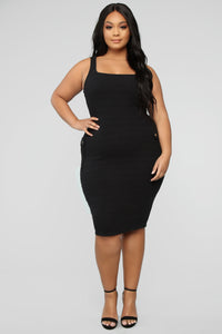 Out Of My Control Midi Dress - Black Angle 5