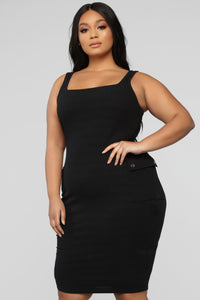 Out Of My Control Midi Dress - Black Angle 6