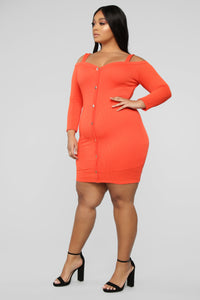 Head In The Clouds Sweater Dress - Tomato Red Angle 7