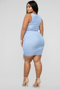 Sweet Attitude Ruched Mesh Mini Dress - Blue