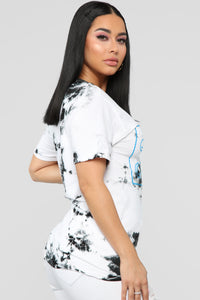 Stay Humble And Hustle Tunic Top - White/Black