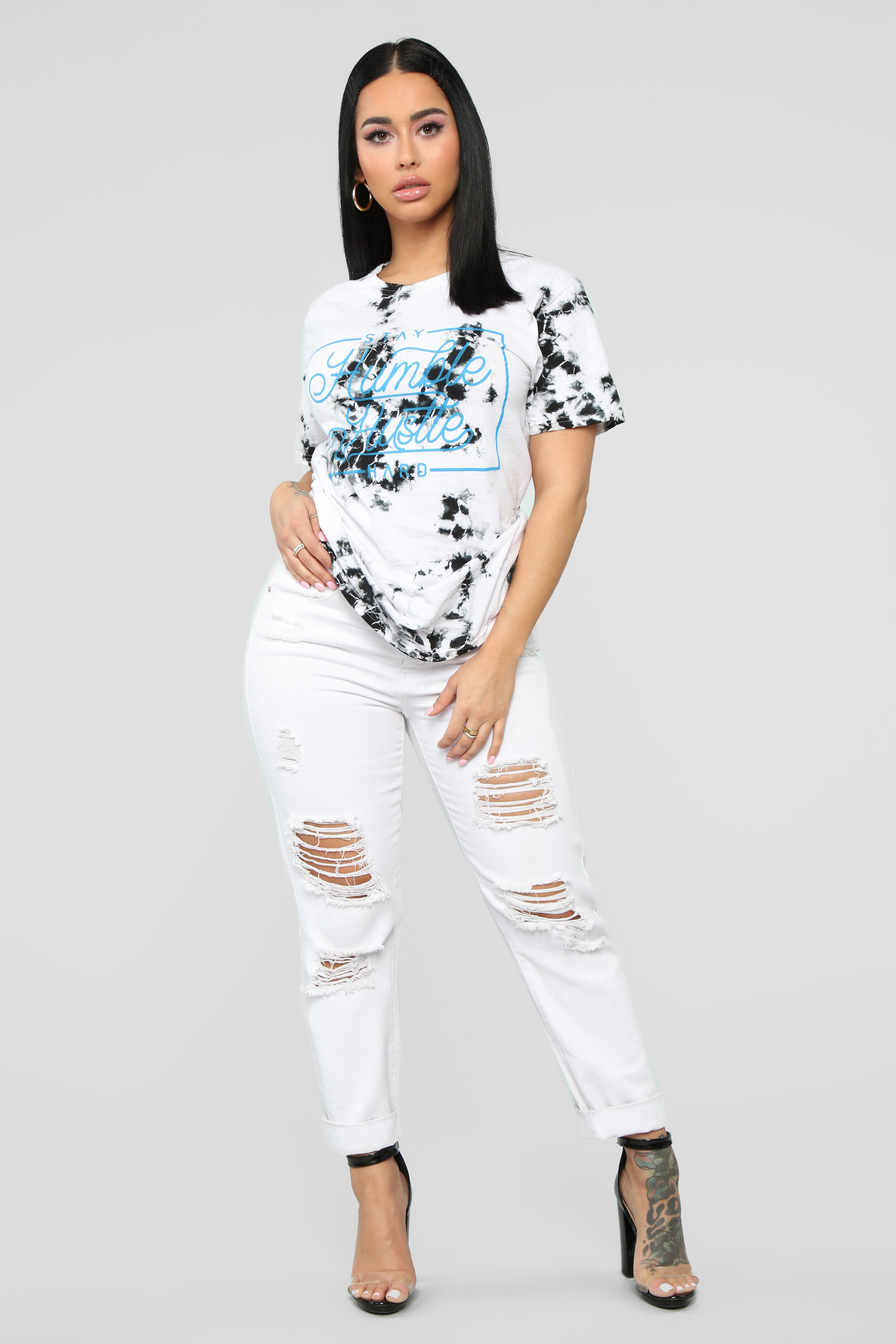 f7613644f04 Stay Humble And Hustle Tunic Top - White/Black