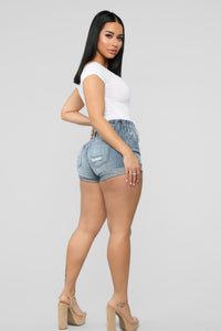 Reach For The Stars Denim Shorts - Medium Blue Wash Angle 7