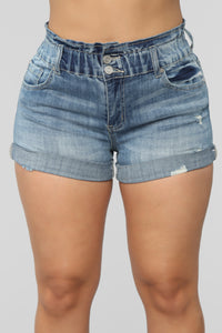 Reach For The Stars Denim Shorts - Medium Blue Wash Angle 3