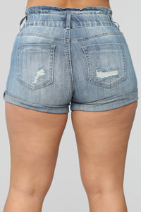 Reach For The Stars Denim Shorts - Medium Blue Wash Angle 8
