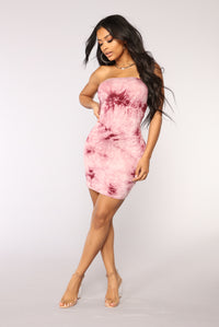 Commotion Tie Dye Dress - Burgundy