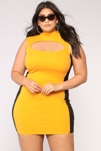 Mind Games Colorblock Dress - Mustard/Black