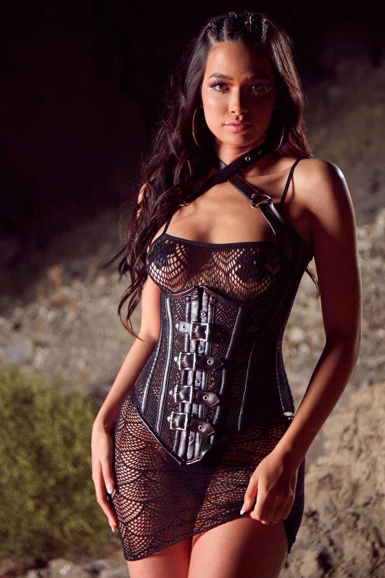 Watch Your Back Buckle Corset - Black