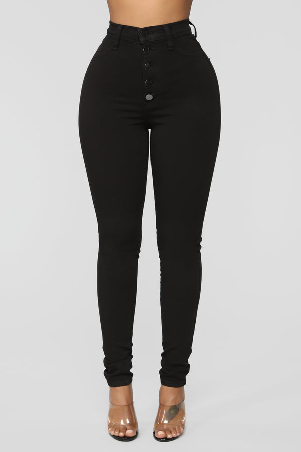 540ca296426 Classic Button Up Skinny Jeans - Black
