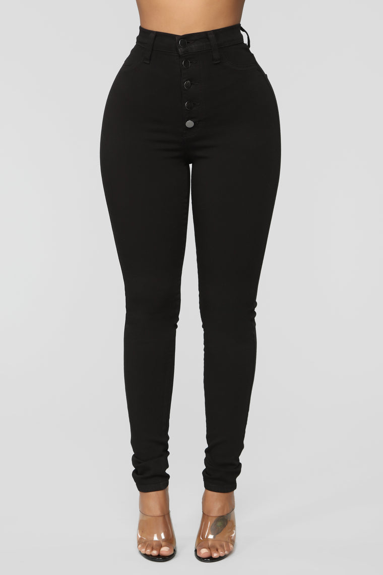 Classic Button Up Skinny Jeans - Black